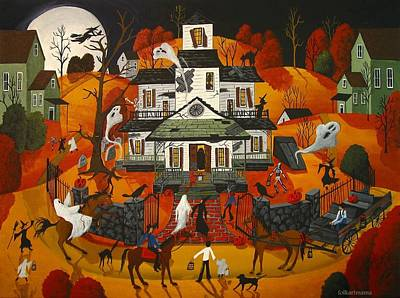 Haunted House Painting - Haunted House - A Folk Art Original - Artist Folkartmama by Debbie Criswell