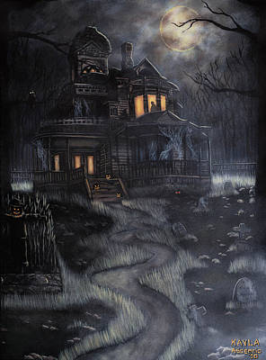 Cemetary Painting - Haunted House by Kayla Ascencio