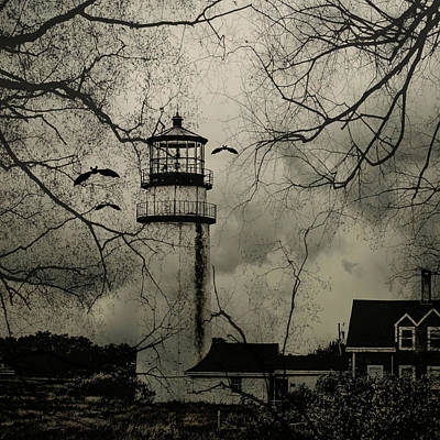 Haunted House Mixed Media - Haunted Lighthouse by Brandi Fitzgerald
