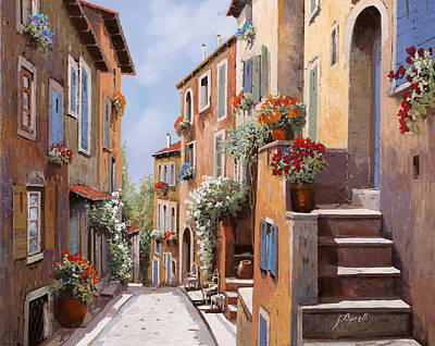 Streetscenes Painting - haut de Cagnes by Guido Borelli