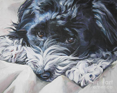 L.a.shepard Painting - Havanese Black And White by Lee Ann Shepard