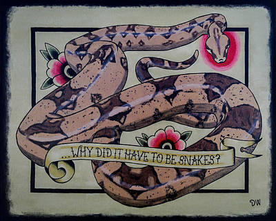 Boa Constrictor Drawing - Have To Be Boa by Donovan Winterberg