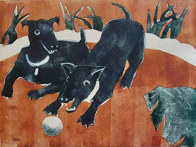 Dog Playing Ball Painting - Having A Ball by Thomas Tribby
