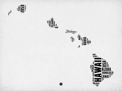 Hawaii Mixed Media - Hawaii Word Cloud 2 by Naxart Studio
