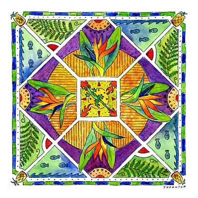 Pineapple Painting - Hawaiian Mandala II - Bird Of Paradise by Diane Thornton