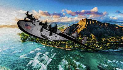 Digital Art - Hawaiian Travels - Pan Am California Clipper - Oil by Tommy Anderson