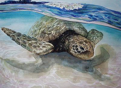 Hawaii Sea Turtle Painting - Hawaiin Turtle by Lynne Haines