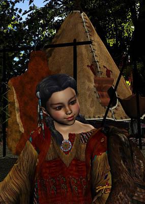 Indian Cherokee Digital Art - Hawk Whisper Native American Girl by Sharon and Renee Lozen