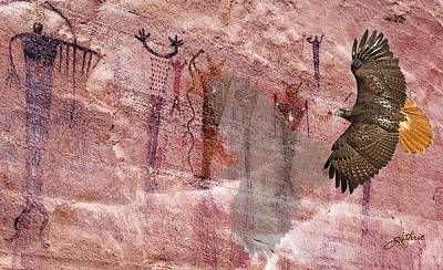 Red Tail Hawks Mixed Media - Hawks Canyon by John Guthrie