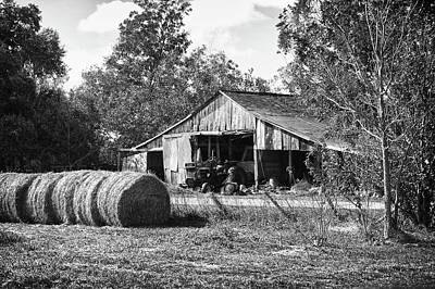 Hay And The Old Barn - Bw Original by Michael Thomas