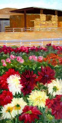 Haybale Painting - Hay Bales And Dahlias by Deborah Cushman