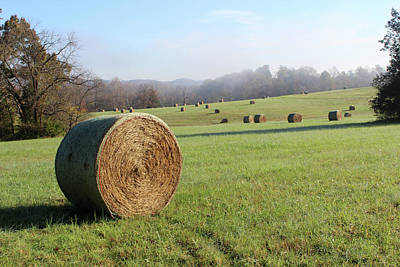 Photograph - Hay Bales In A Missouri Field At Sunrise by Adam Long
