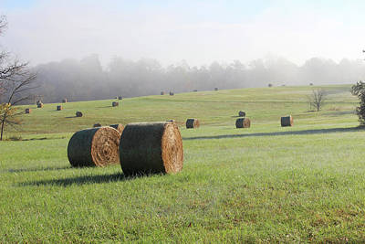 Photograph - Hay Bales In A Missouri Field On A Sunny And Foggy Morning by Adam Long