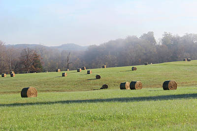 Photograph - Hay Bales In A Missouri Field On A Sunny And Misty Morning by Adam Long