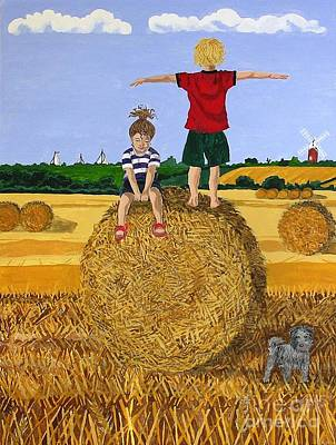 Bales Painting - Hay Bales by Tracey Kemp