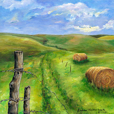 Bales Painting - Hay Fields by Donna Waite