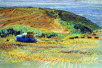 Half Moon Bay Painting - Hay Harvest On The Coast by Donald Maier
