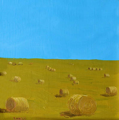 Haybale Painting - Hay Harvest by Tom Amiss