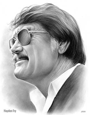 Harvard Drawing - Hayden Fry by Greg Joens