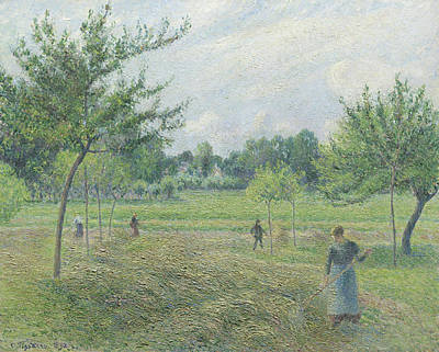 Haymaking At Eragny Print by Camille Pissarro