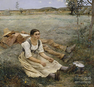 1884 Drawing - Haymaking by Celestial Images