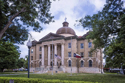 Hays County Courthouse Print by Joan Carroll