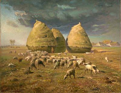 Jean Francois Millet Painting - Haystacks. Autumn by Jean Francois Millet