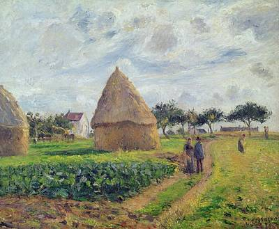 Stacked Painting - Haystacks by Camille Pissarro