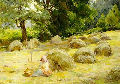 Meadow Scene Painting - Haytime by Rosa Appleton