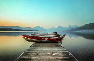 Boat Photograph - Hazy Reflection // Lake Mcdonald, Glacier National Park by Nicholas Parker