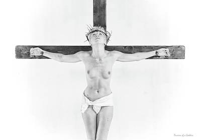 Highlight Crucifix Black And White Print by Ramon Martinez