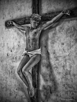 Female Christ Photograph - Hdr Crucifix In Black And White by Ramon Martinez