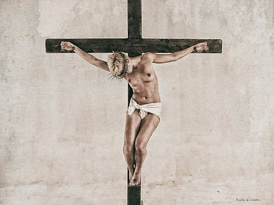 Hdr Crucifix In Warm Tones Print by Ramon Martinez