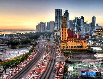 Hdr Miami Downtown Sunrise Print by Joe Myeress