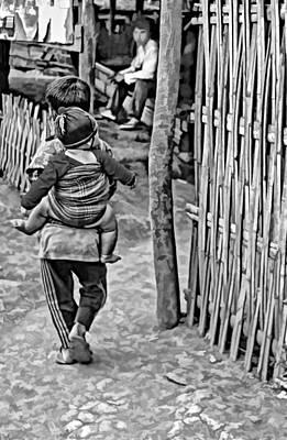 Bamboo Fence Photograph - He Ain't Heavy Bw by Steve Harrington