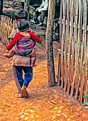 Bamboo Fence Photograph - He Ain't Heavy... by Steve Harrington