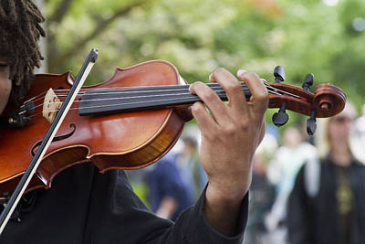 Violin Bows Violin Bows Photograph - He Plays At The Market by Rebecca Cozart