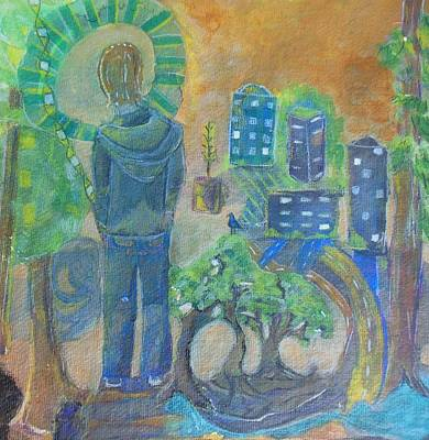 Save The Earth Painting - He Who Planted Trees by Susan Rajkumar