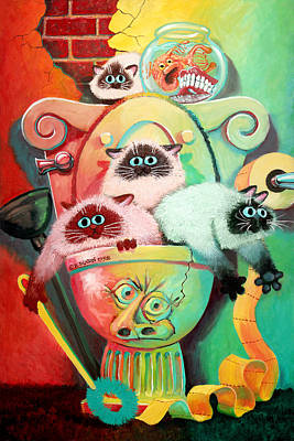 Humorous Cat Painting - Head Cleaners by Baron Dixon