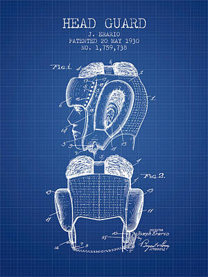Head Guard Patent From 1930 - Blueprint Print by Aged Pixel
