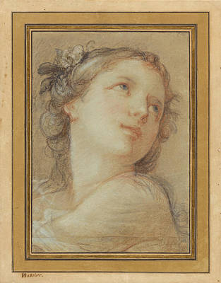 Drawing - Head Of A Bacchante by Charles-Joseph Natoire
