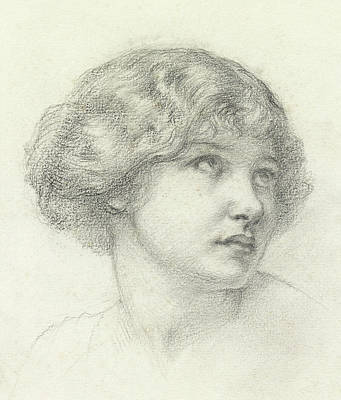 Crayons Drawing - Head Of A Girl  by Walter John Knewstub