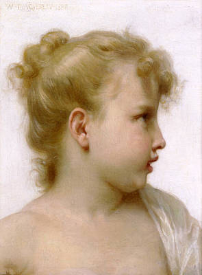 William-adolphe Bouguereau Painting - Head Of A Little Girl. Study by William-Adolphe Bouguereau