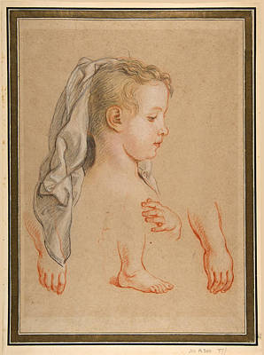 Drawing - Head Of A Young Girl And Studies Of Hands And Of Her Right Foot by Charles De La Fosse