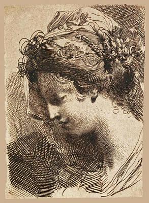Drawing - Head Of A Young Woman by Gaetano Gandolfi