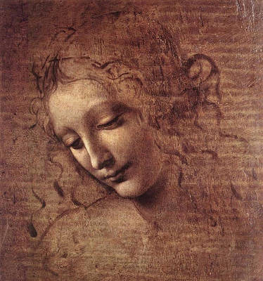 Head Of A Young Woman With Tousled Hair, Leda Print by Leonardo da Vinci