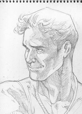 Hunk Drawing - Head Study In Pencil by Visconde Carlo Vergara