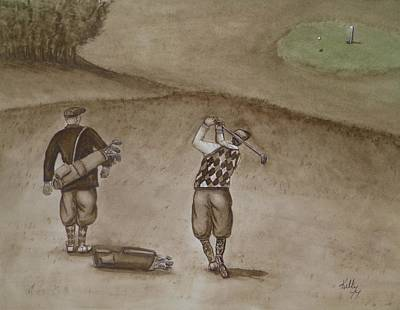 Heading For The Green ... Vintage Golfing Original by Kelly Mills