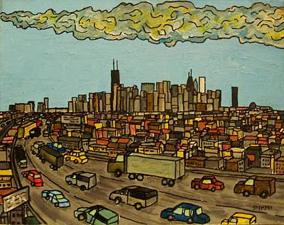 Chicago Skyline Drawing - Heading Home by Jacob Stempky