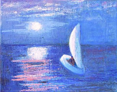 Sport Impasto Oil Painting - Heading Home Under The Moonlit Sky by Marla McPherson